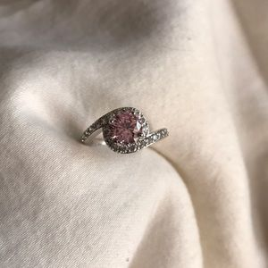 Pink and silver costume ring